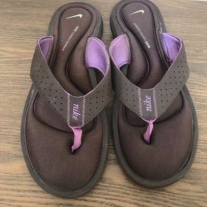 Nike Comfort Footbed Flip Flops Brown & Purple 11